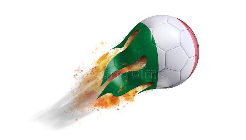 Flyga den flammande fotbollbollen med den Italien flaggan royaltyfri illustrationer