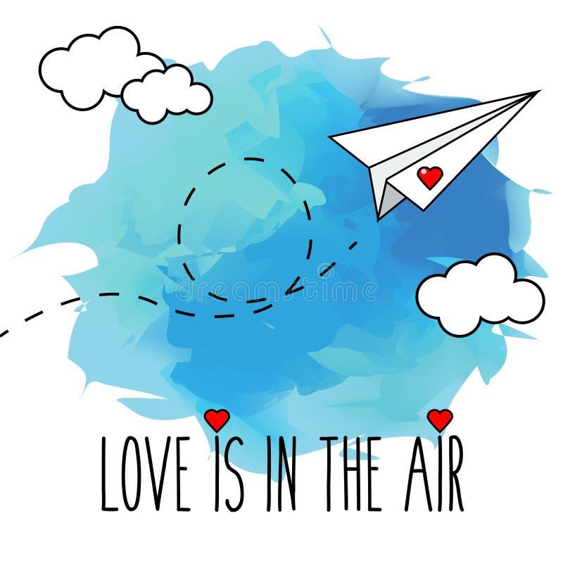 Flyga den hand drog pappers- illustrationen för plan vektor, romantiker, valentinkort stock illustrationer
