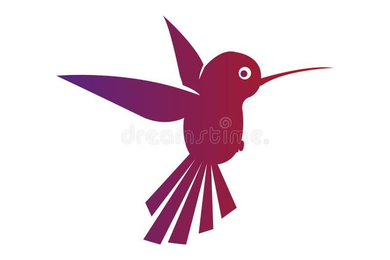 Flyga den isolerade kolibrin Liten lös exotisk fågel i flykten stock illustrationer