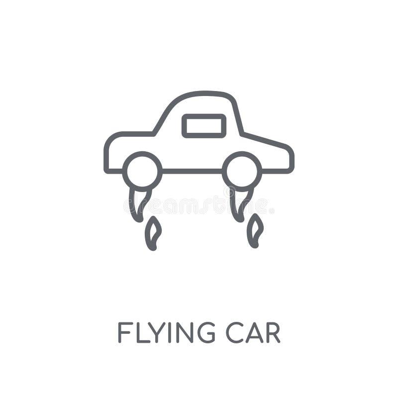 Flyga den linjära symbolen för bil Modern nolla för begrepp för logo för översiktsflygbil stock illustrationer