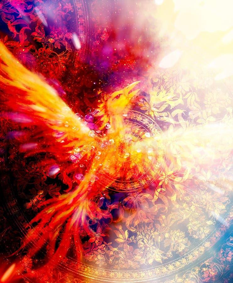 Flyga den phoenix fågeln som symbol av pånyttfödelse och den nya forntida prydnaden för början och i bakgrund royaltyfri illustrationer