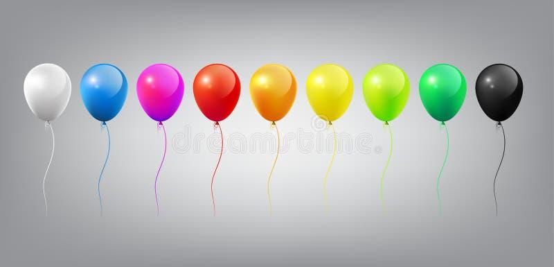 Flyga den realistiska glansiga färgrika ballongmallen med parti- och berömbegrepp på vit bakgrund stock illustrationer