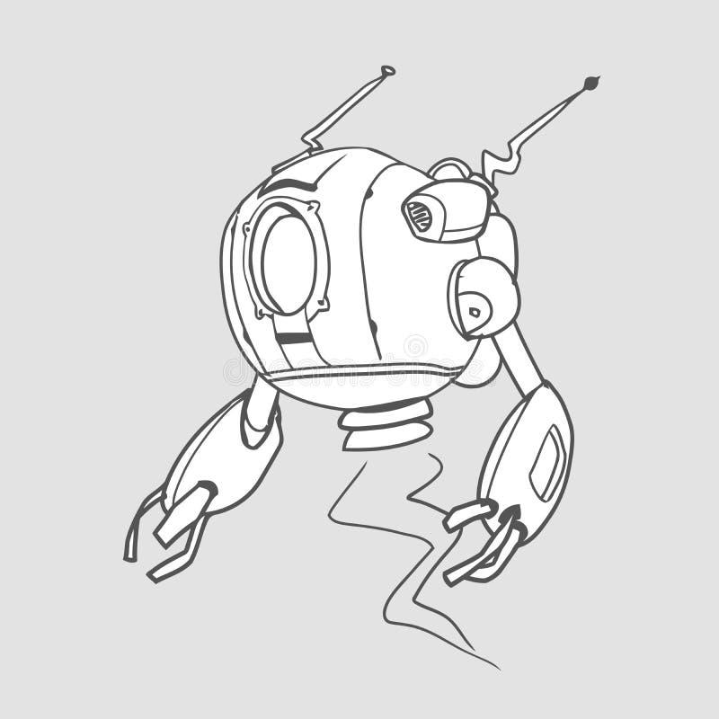 Flyga den sfäriska roboten, konturvektorillustration för färgläggningbok som isoleras vektor illustrationer