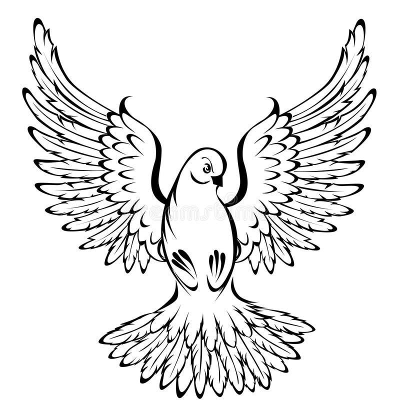 Flyga duvan royaltyfri illustrationer