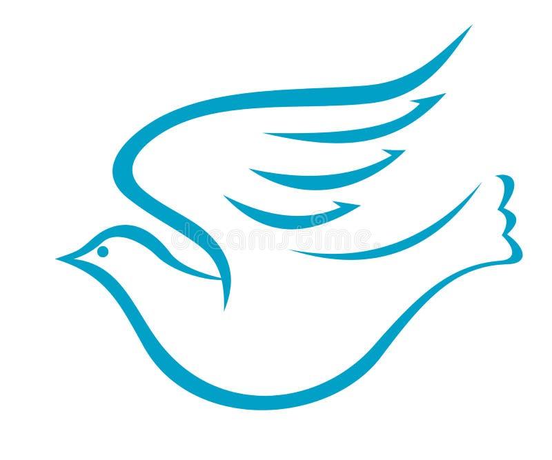Flyga duvan eller fågeln av fred royaltyfri illustrationer