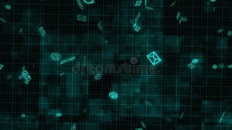 Flyga elektroniska emails i den blåa bakgrunden royaltyfri illustrationer