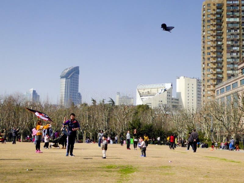 Flyga en drake inom Fuxing parkera arkivbilder