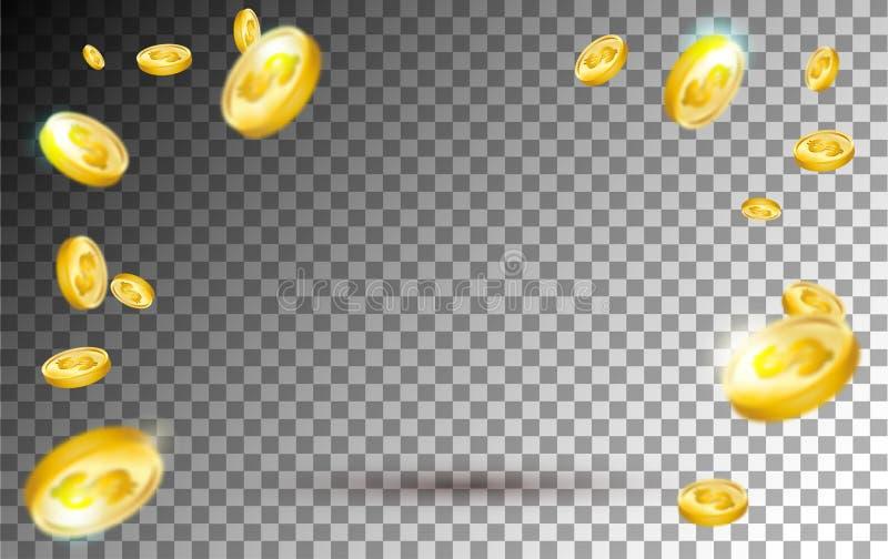 Flyga explosion för guld- mynt på genomskinlig bakgrund realistiskt vektor illustrationer