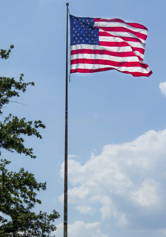 Flyga för amerikanska flaggan som är stolt arkivbilder