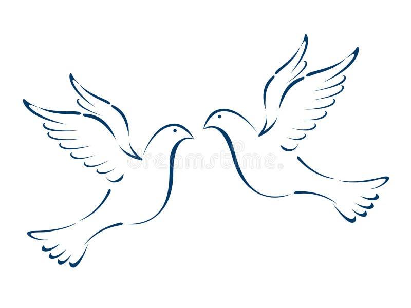 flyga för duvor vektor illustrationer