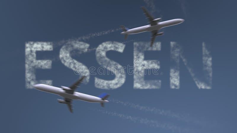 Flyga flygplanslingor och den Essen överskriften Resa till den begreppsmässiga tolkningen 3D för Tyskland stock illustrationer