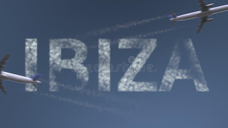 Flyga flygplanslingor och den Ibiza överskriften Begreppsmässig tolkning 3D för semesterlopp royaltyfri illustrationer