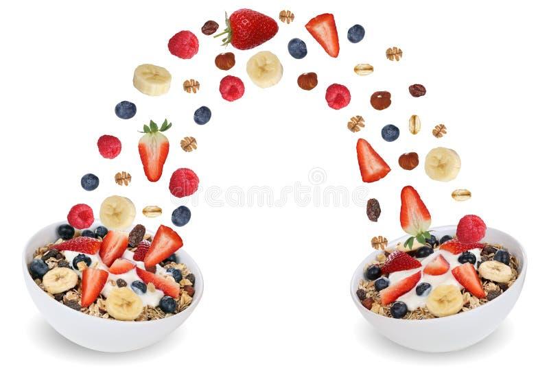 Flyga fruktmysli för frukost i bunke med frukter som banan royaltyfria bilder