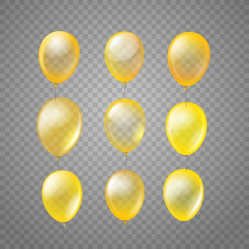 Flyga guld- luftballonger som isoleras p? tranparent stock illustrationer