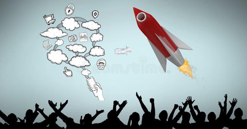 Flyga i midair vid molnsymboler över konturfolk vektor illustrationer