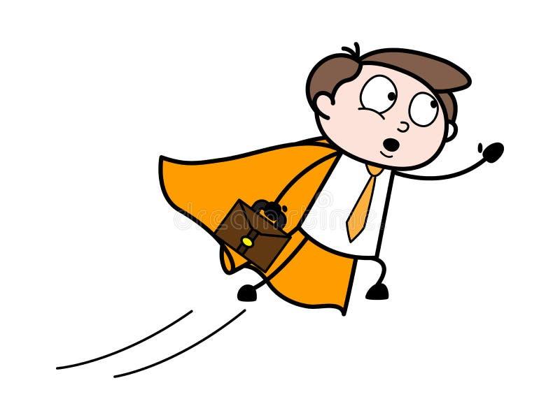 Flyga kontorsanställd - kontorsaffärsmanEmployee Cartoon Vector illustration arkivbilder