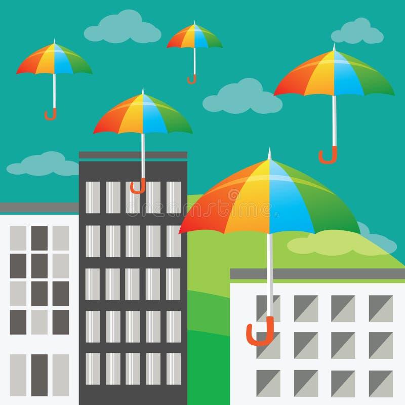 Flyga kulöra paraplyer vektor illustrationer