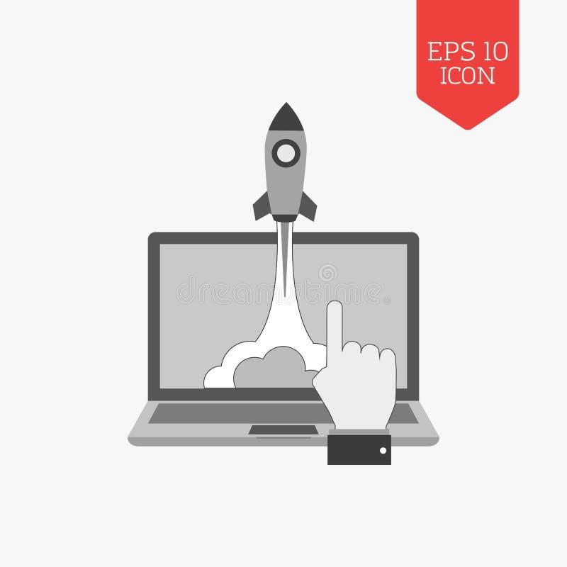 Flyga lanseringen från bärbar datorsymbolen, startup begrepp Plan designgra royaltyfri illustrationer
