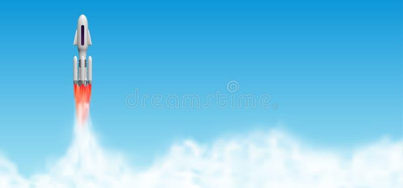 Flyga lanseringen, rymdskeppstart med ångamoln Illustration för anslutningsvektor med kopieringsutrymme royaltyfri illustrationer