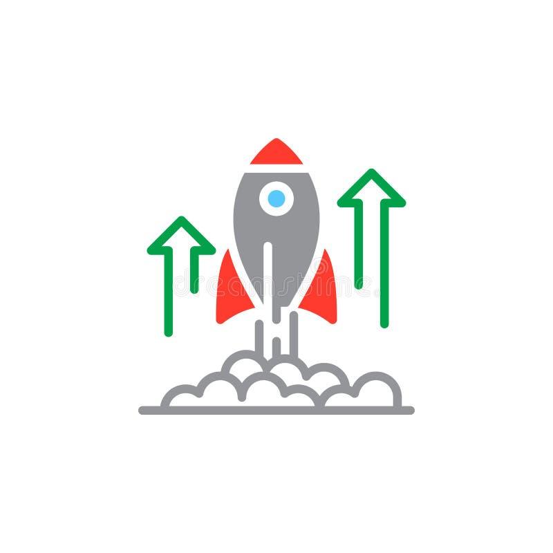 Flyga lanseringssymbolsvektorn, det fyllda plana tecknet, den fasta färgrika pictogramen som isoleras på vit vektor illustrationer