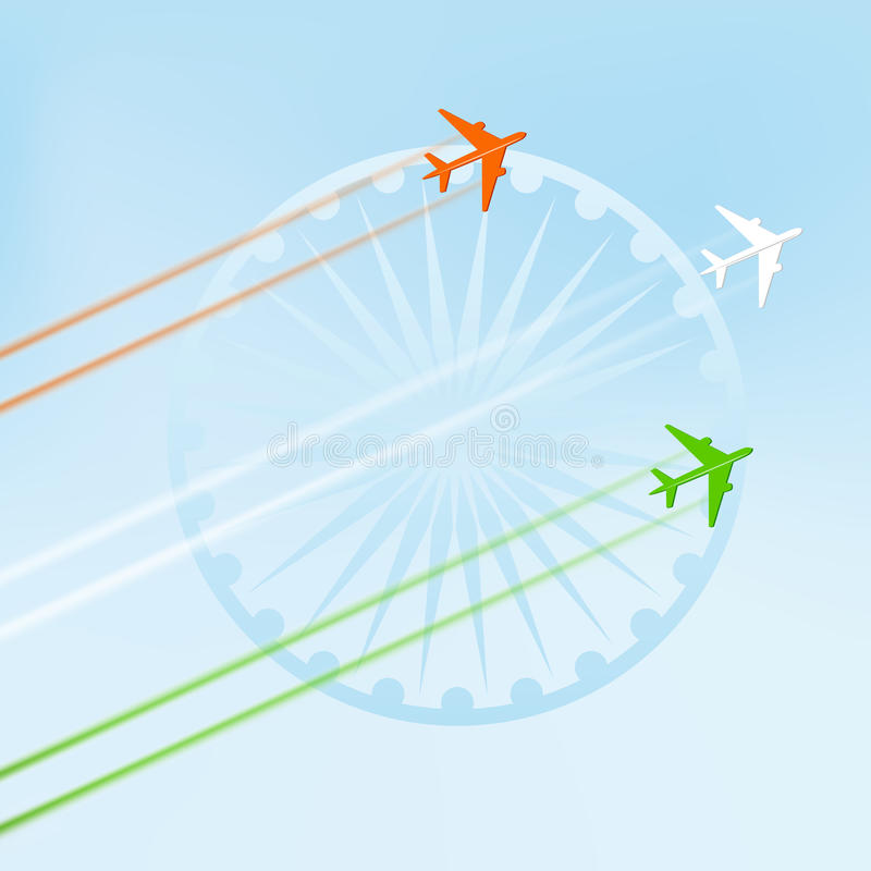 Flyga nivån i nationellt tricolor med det Ashoka hjulet vektor illustrationer