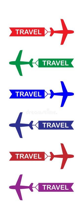 Flyga nivån med banret, ställde symboler in, färgrikt som isolerades på vit bakgrund, illustration royaltyfri illustrationer