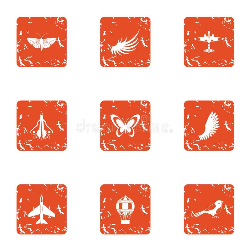Flyga objektsymbolsuppsättningen, grungestil stock illustrationer