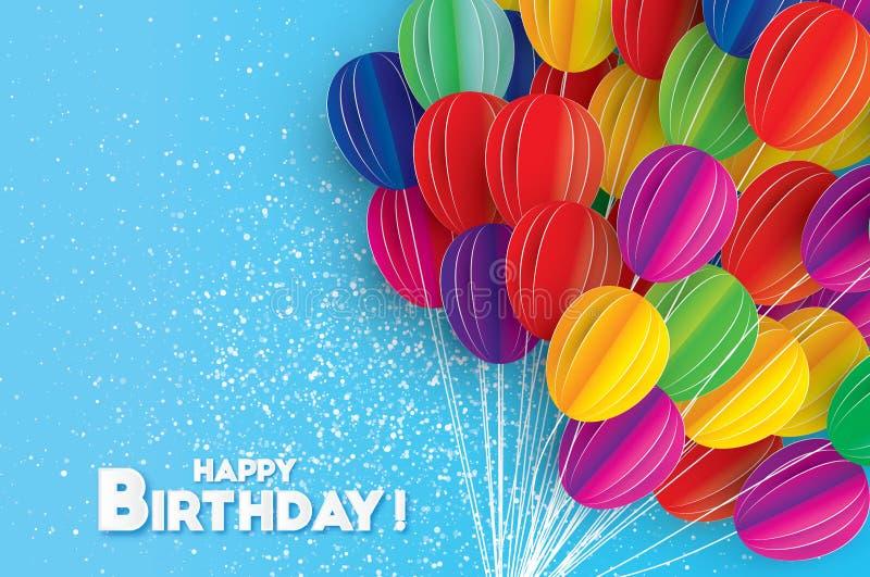 Flyga papperssnittballonger Färgrikt hälsningkort för lycklig födelsedag stock illustrationer