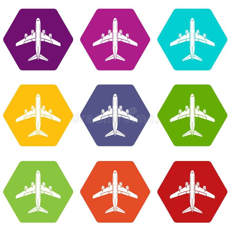 Flyga plan symbolsuppsättning 9 stock illustrationer