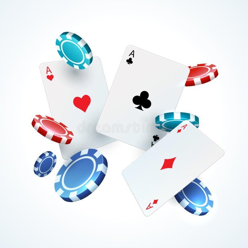 Flyga pokerkort, chiper Kasino som spelar det realistiska fallande kortet för lek 3D och den plast- röda och svarta chipen vektor vektor illustrationer