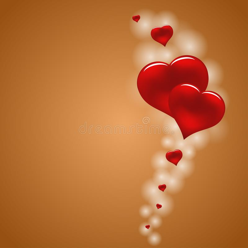 Flyga röda hjärtor på härlig brun bakgrund royaltyfri illustrationer