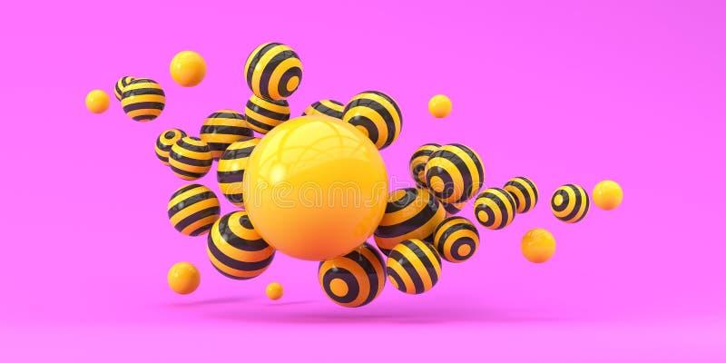 Flyga randiga ballonger på en rosa bakgrund illustrationen 3d framf?r royaltyfri illustrationer