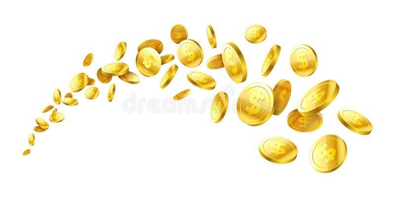 Flyga realistiska mynt för guld 3d stock illustrationer