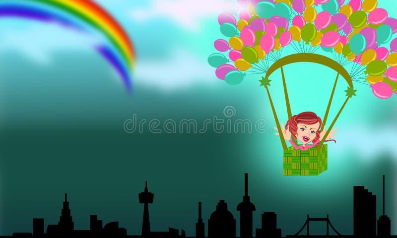 Flyga som fångar regnbågen av hopp royaltyfri illustrationer