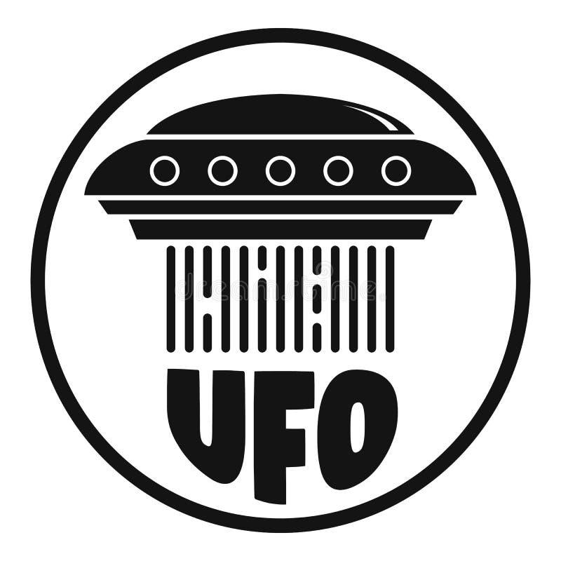 Flyga ufo-skepplogo, enkel stil stock illustrationer