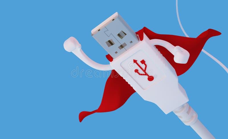 Flyga USB för toppen hjälte kontaktdonet vektor illustrationer