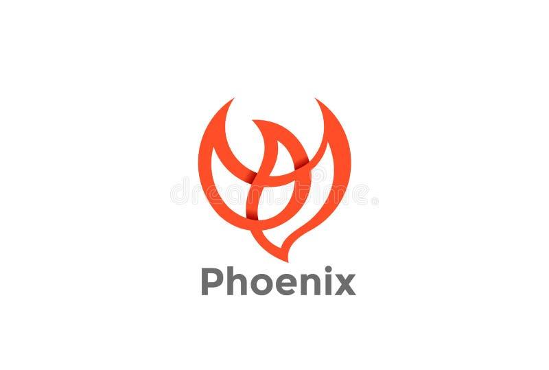 Flyga vektorn för design för Phoenix fågellogo Duva Fashi stock illustrationer