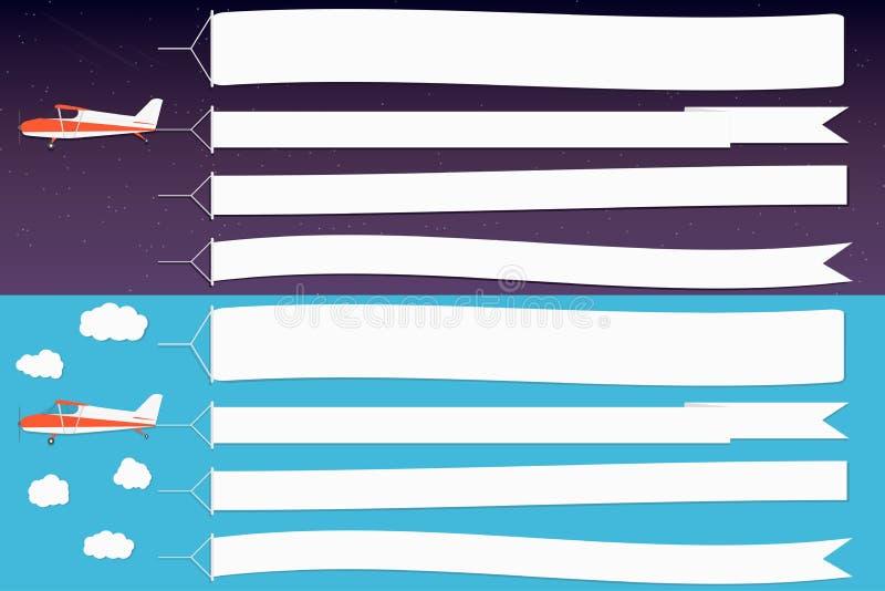 Flygadvertizingbaner Nivåer med horisontalbaner i nattyttre rymd och bakgrund för blå himmel för dag vektor illustrationer