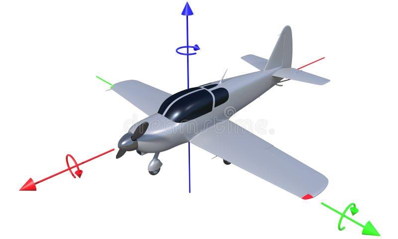flygaxel för flygplan 3d royaltyfri illustrationer