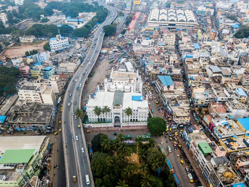 Flygbild av Bangalore i Indien royaltyfri bild