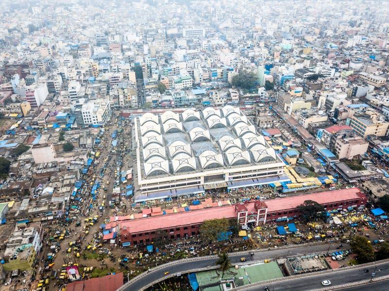 Flygbild av Bangalore i Indien arkivfoton