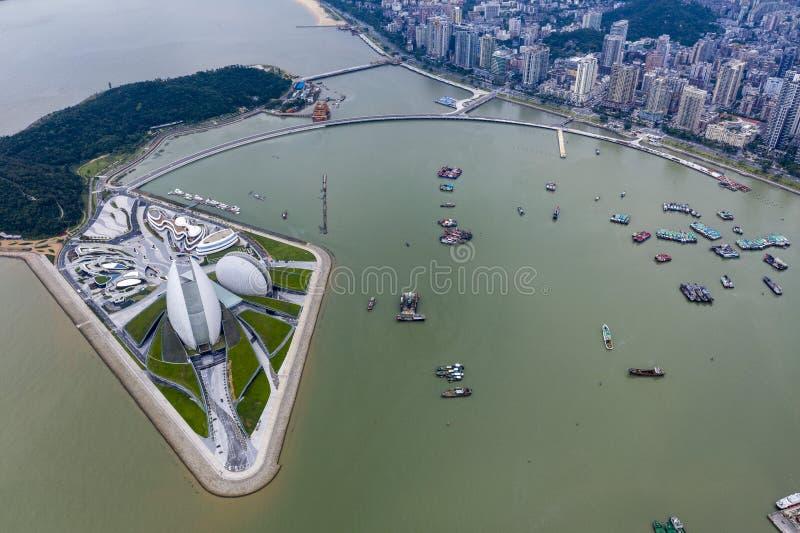 Flygbild av den zhuhai operahuset royaltyfri bild