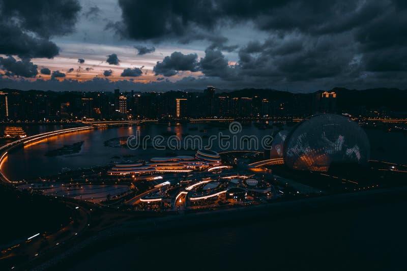 Flygbild av den zhuhai operahuset royaltyfria bilder