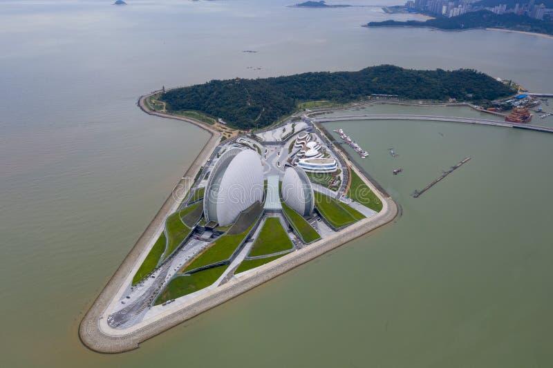 Flygbild av den zhuhai operahuset royaltyfria foton