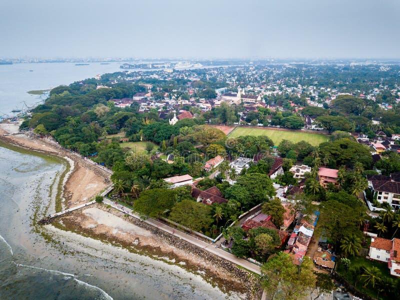 Flygbild av Kochi i Indien arkivbilder