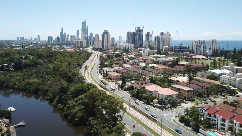Flygbild Broadbeach, Queensland, Australien arkivbild