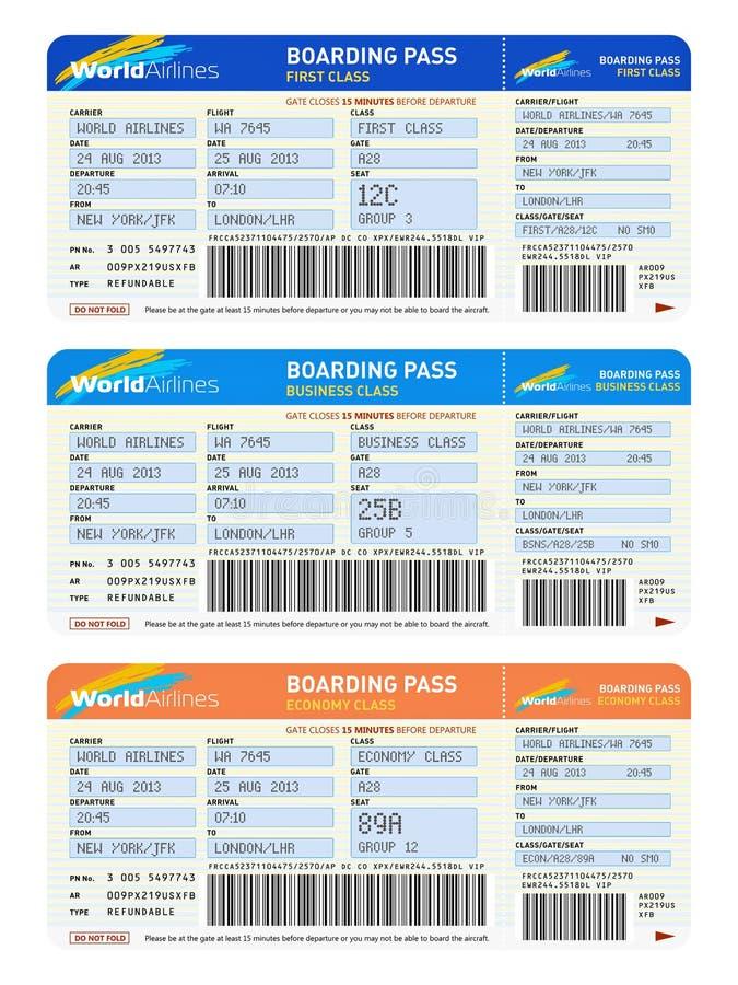 Flygbiljetter vektor illustrationer
