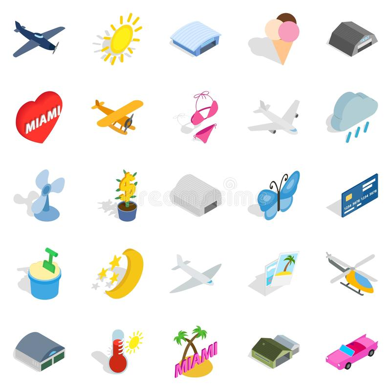 Flygbladsymbolsuppsättning, isometrisk stil royaltyfri illustrationer