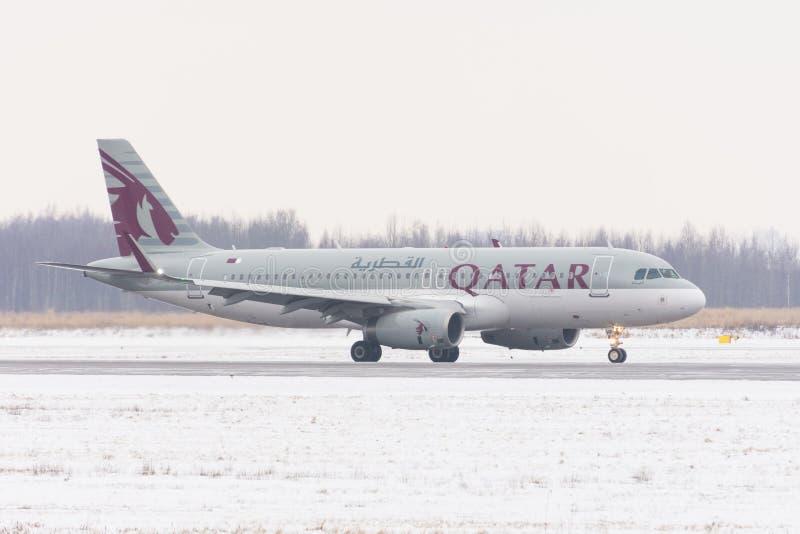Flygbolag för flygbuss a320 Qatar Airways, flygplats Pulkovo, Ryssland, St Petersburg Februari 04 2018 arkivfoto