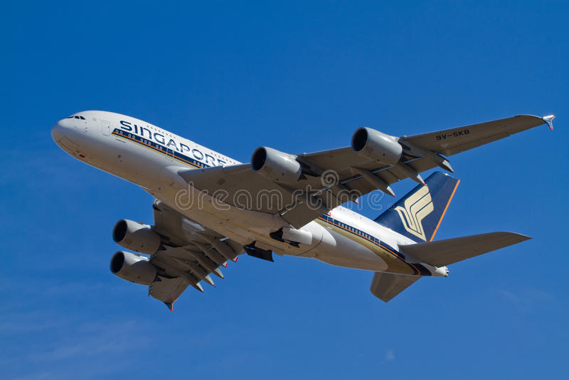 flygbolag singapore för flygbuss a380 royaltyfri bild